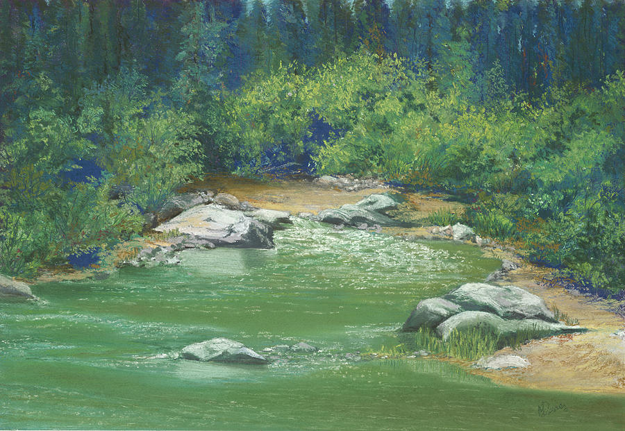 Pastel Painting - Yuba River California by Martha J Davies