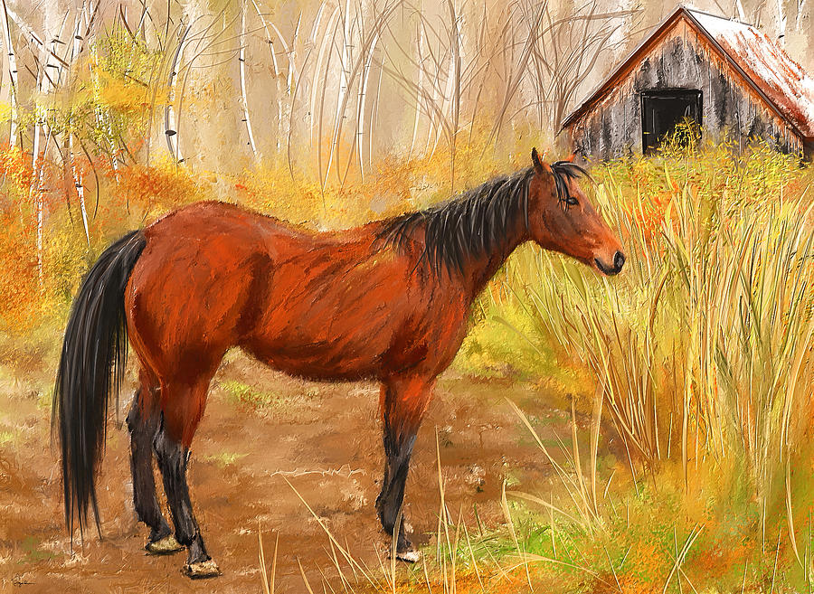 Horse On Pasture Painting - Yuma- Stunning Horse In Autumn by Lourry Legarde