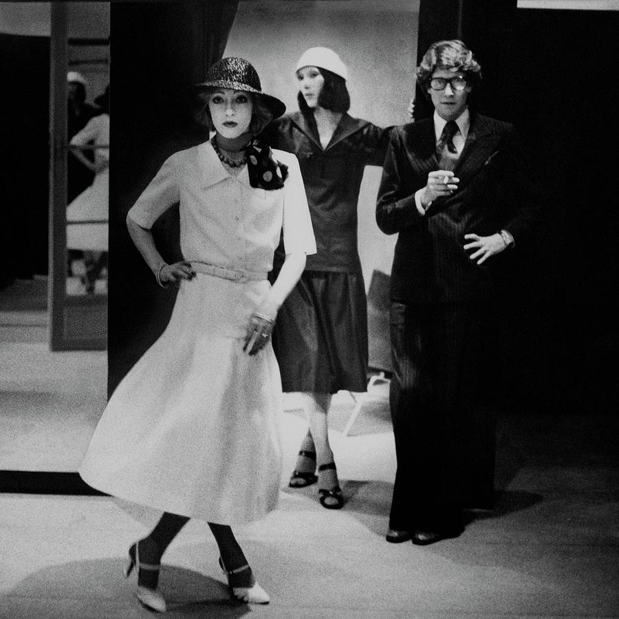 Yves Saint Lauren With Two Of His Assistants Photograph by Deborah Turbeville