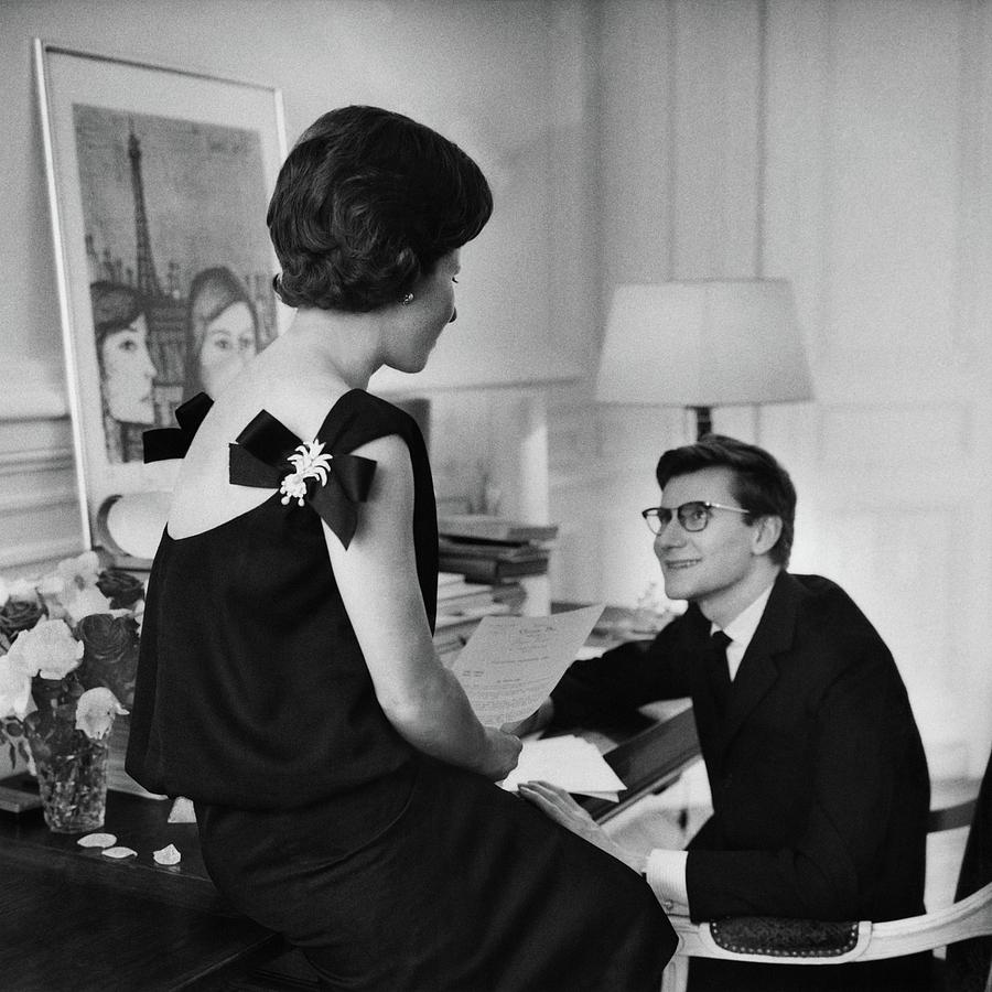 Yves St. Laurent With His Mother Photograph by Willy Rizzo