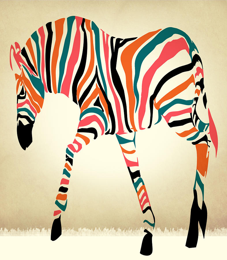 Zebra Digital Art - z by Mark Ashkenazi