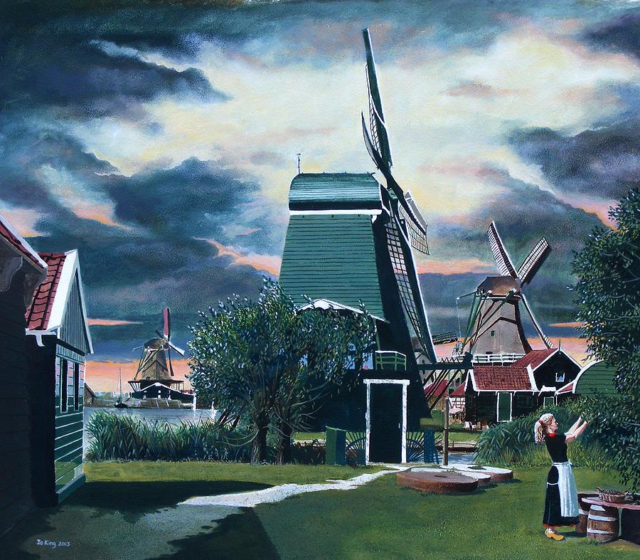 Windmills Painting - Zaanse Schans by Jo King