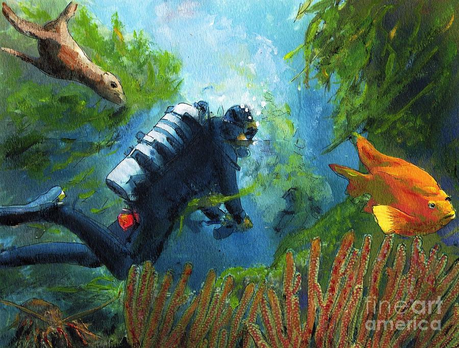 Ocean Painting - Zac in his Office by Randy Sprout