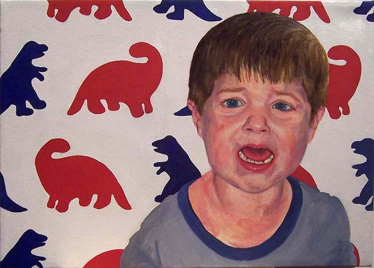 Child Painting - Zachary G With Dinos by Marianne Devine