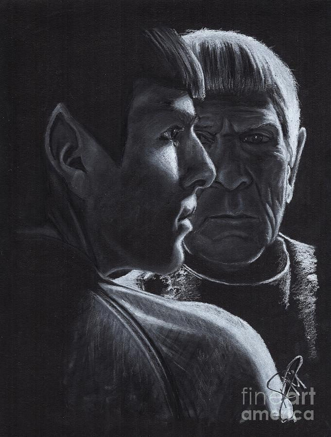 Zachary Quinto Drawing - Zachary Quinto And Leonard Nimoy by Rosalinda Markle