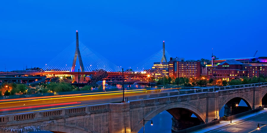 Boston Photograph - Zakim Bridge At Twilight by Joann Vitali