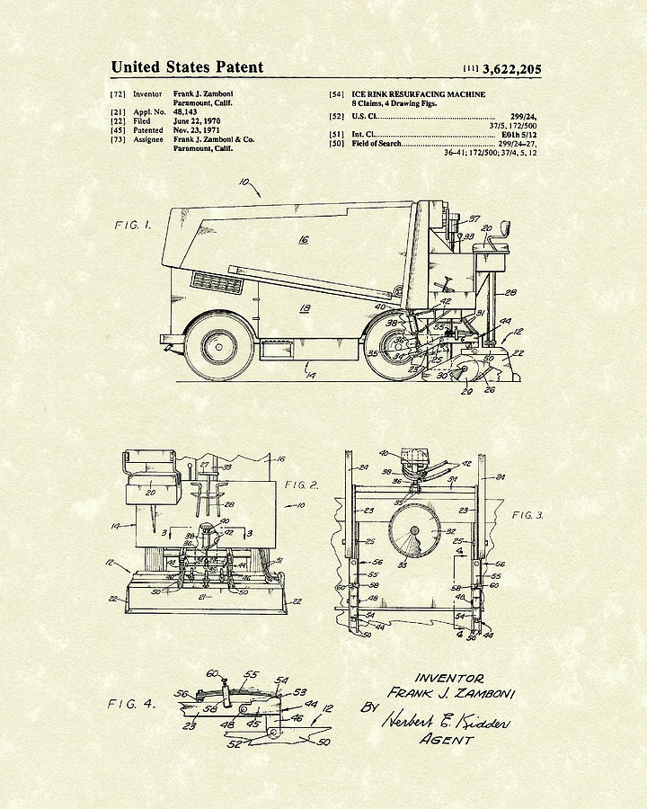 Zamboni 1971 Patent Art by Prior Art Design