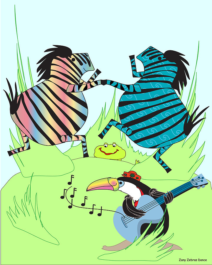 Happy Digital Art - Zany Zebras Dance by Chris Morningforest