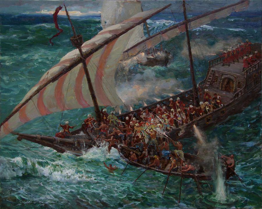Battleship Painting - Zaporozhye Cossacks Boarded The Turkish Ship by Korobkin Anatoly