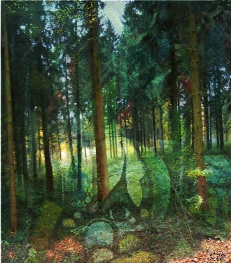 Malerei Painting - Zauberwald by Gertrude Scheffler