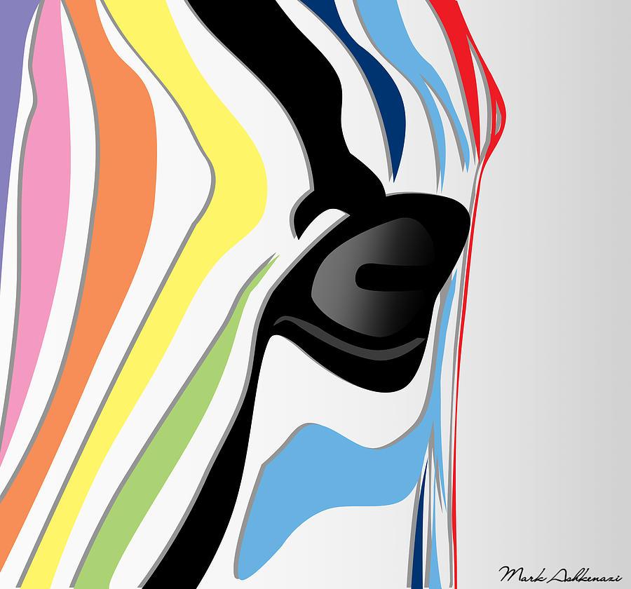 Zebra Digital Art - Zebra 1 by Mark Ashkenazi