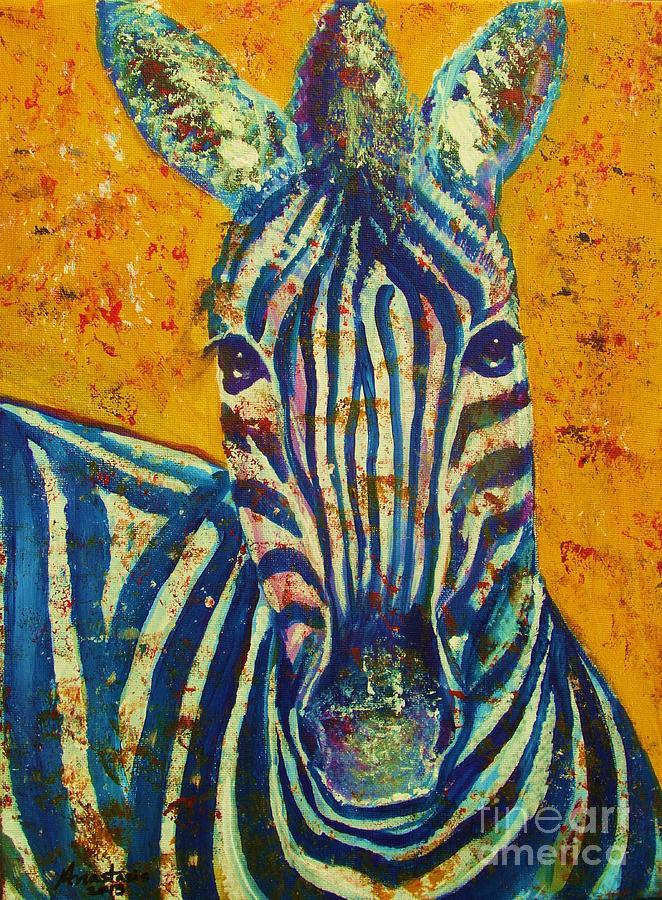 Zebra Painting - Zebra by Anastasis  Anastasi