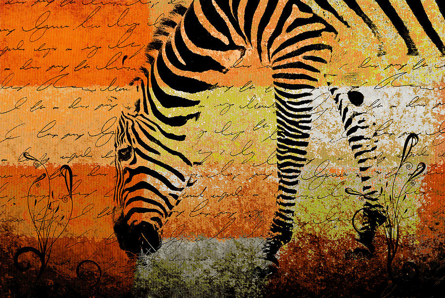 Zebra Digital Art - Zebra Art - Rng02t01 by Variance Collections