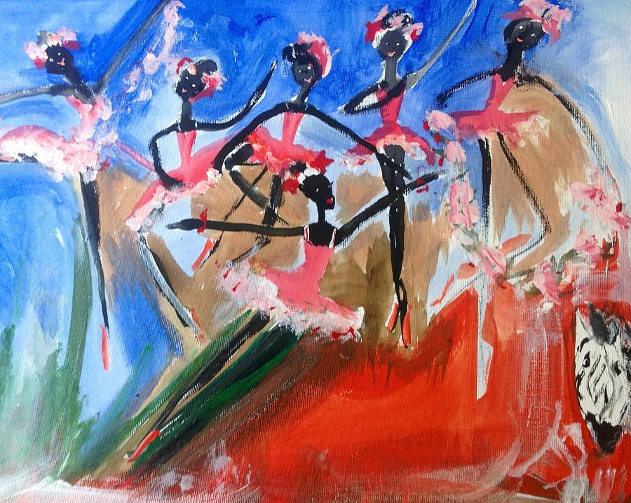 Zebra Painting - Zebra Ballet by Judith Desrosiers