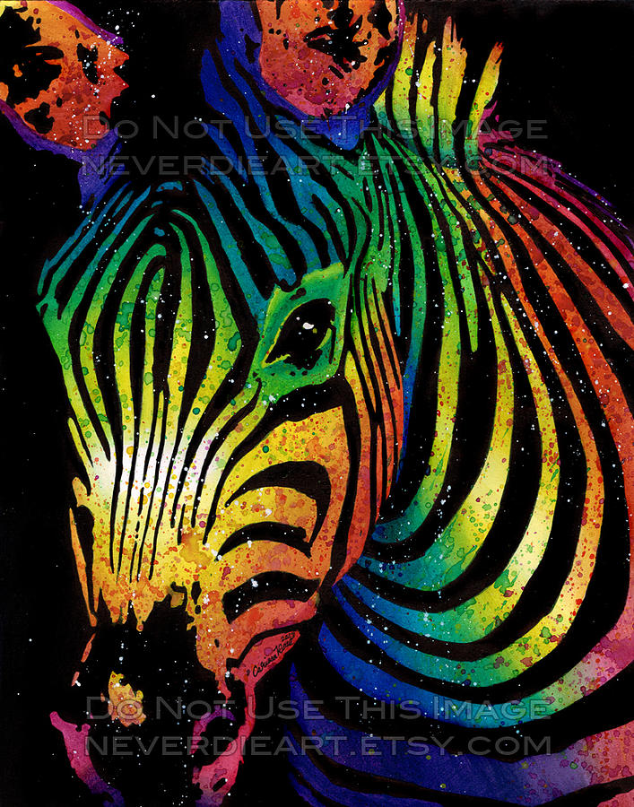 Colorful Zebra Print Nail Art Tutorial: Zebra Painting By Carissa Rose Stevens