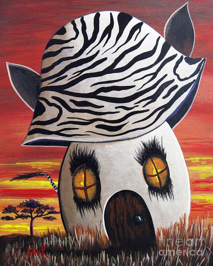 Zebra Painting - Zebra Cottage By Shawna Erback by Erback Art