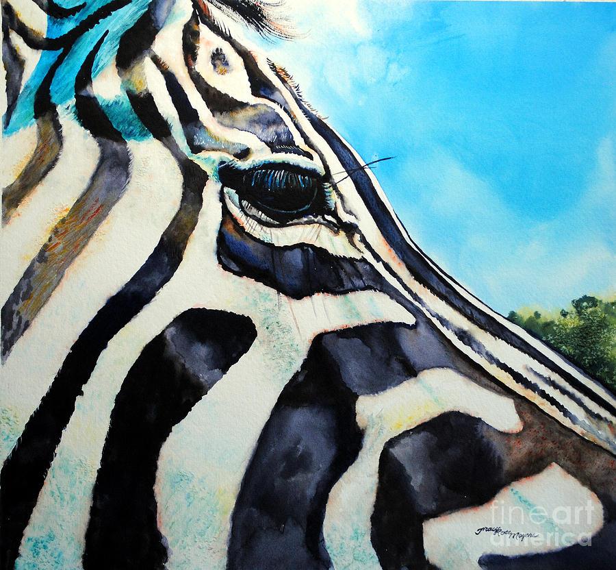 Zebra Painting - Zebra Eye by Tracy Rose Moyers