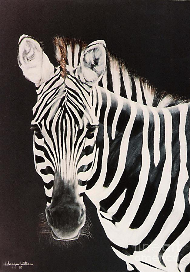 Black And White Painting - Zebra facing left by DiDi Higginbotham