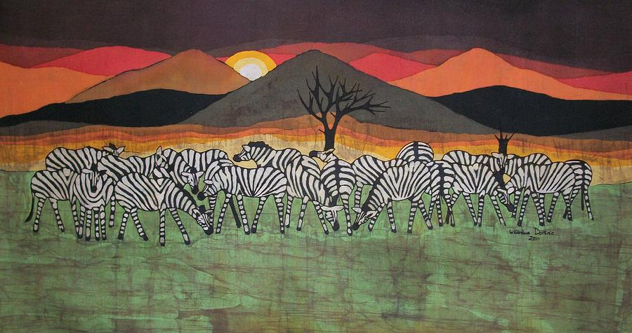 Zebra Tapestry - Textile - Zebra Gatherings by Lukandwa Dominic