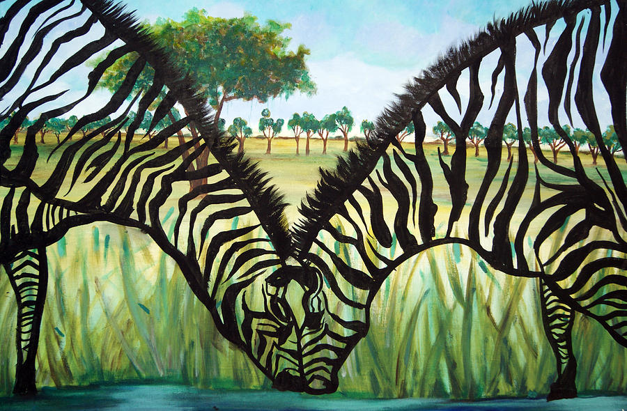 Zebra Painting - Zebra Kiss by Ottoniel Lima and Lorinda Fore
