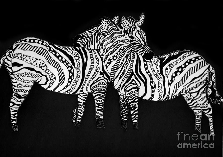 Zebra Drawing - Zebra Love 1 by Karen Larter