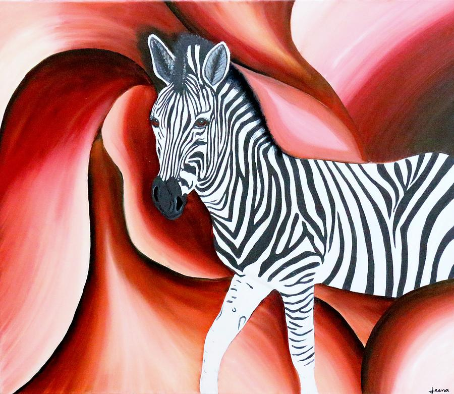 Zebra - Oil Painting Painting by Rejeena Niaz