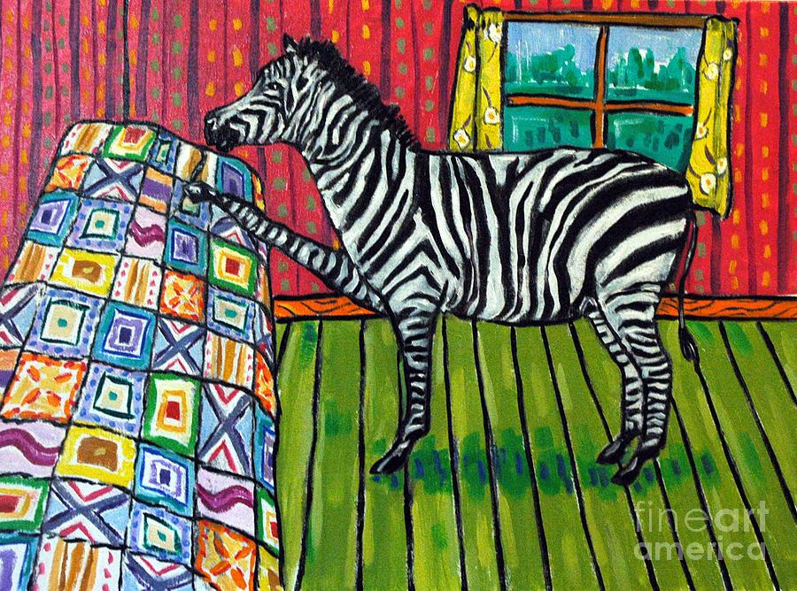 Zebra Painting - Zebra Quilting by Jay  Schmetz