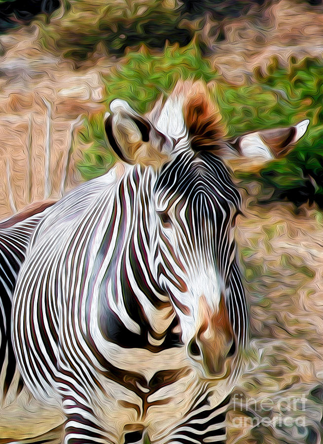 Animal Digital Art - Zebra Rendition I by Kenneth Montgomery