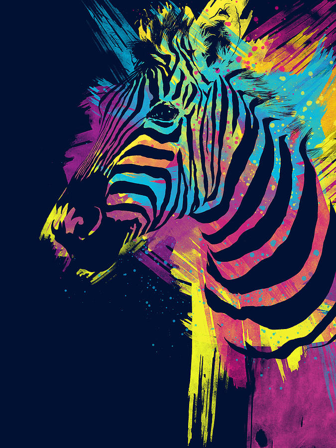 colorful digital art zebra splatters by olga shvartsur - Colorful Art