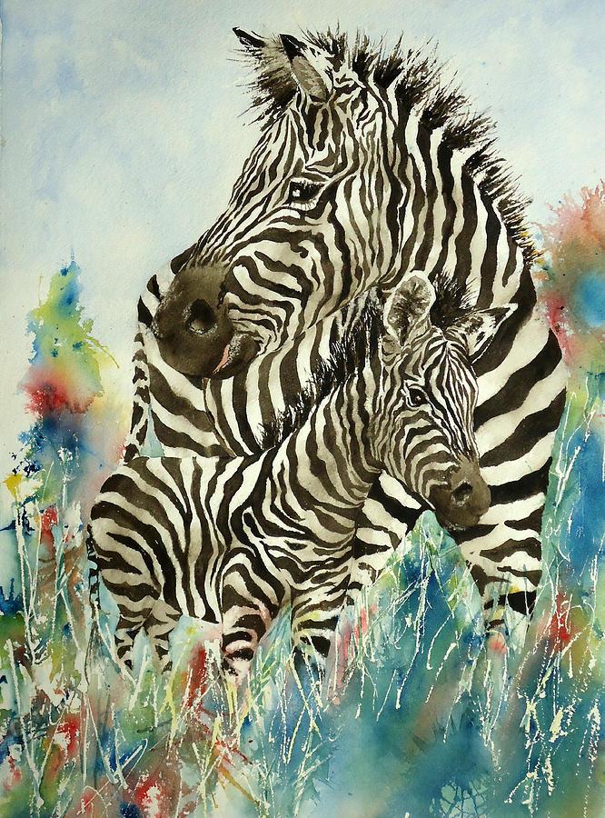 Zebra Painting - Zebra With Colt by Sandra Stone