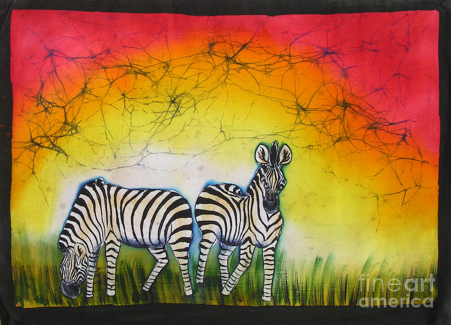 African Painting - Zebras In A Brightness by Peter Mkoweka