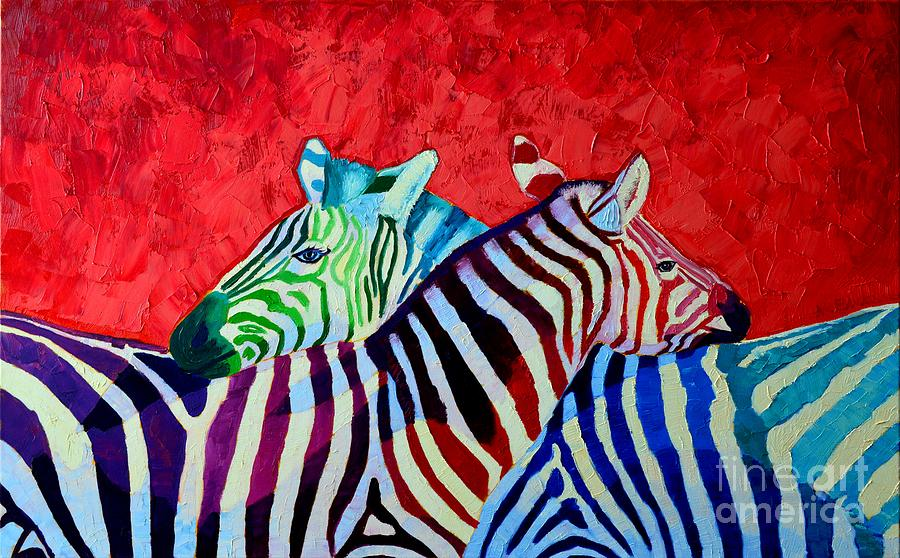 Zebra Painting - Zebras In Love  by Ana Maria Edulescu