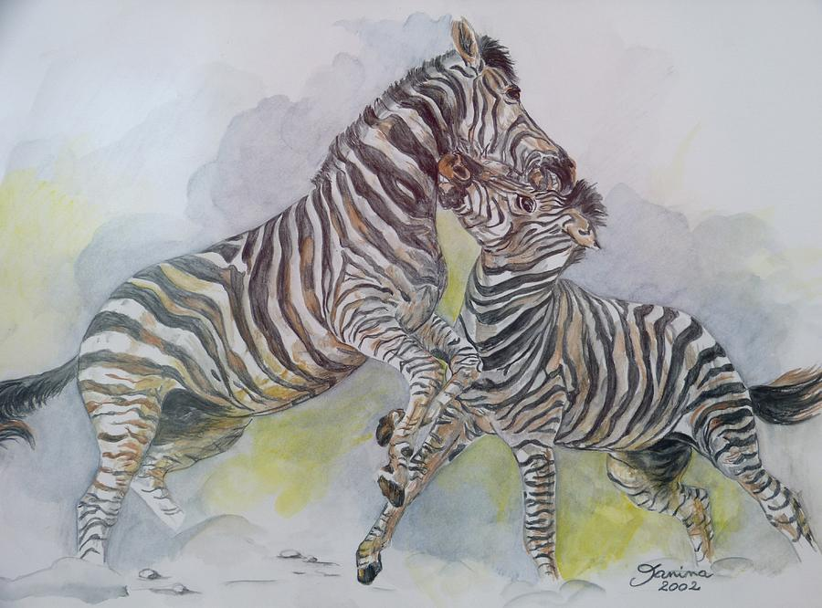 Animals Painting - Zebras by Janina  Suuronen