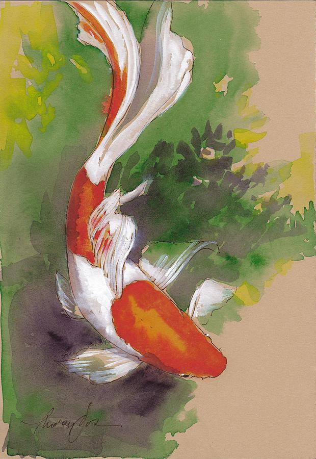 Goldfish Painting - Zen Comet Goldfish by Tracie Thompson