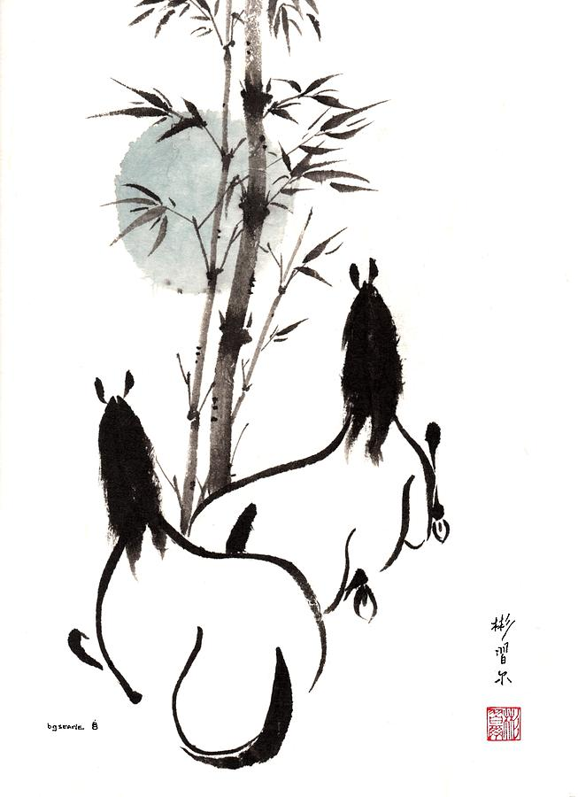 Chinese Brush Painting Painting - Zen Horses Moon Reverence by Bill Searle
