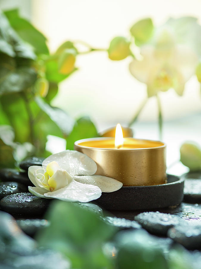 Zen Photograph - Zen Orchid And Candle by #name?