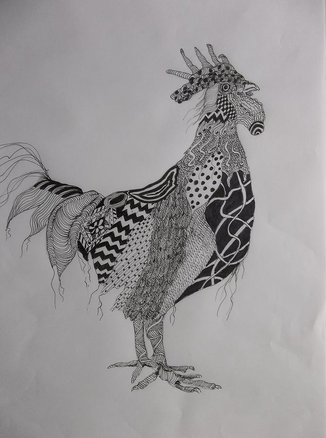 Zen Rooster Left by Audrey Bunchkowski