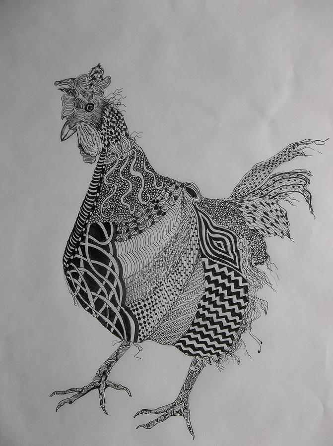 Zen Rooster Right by Audrey Bunchkowski