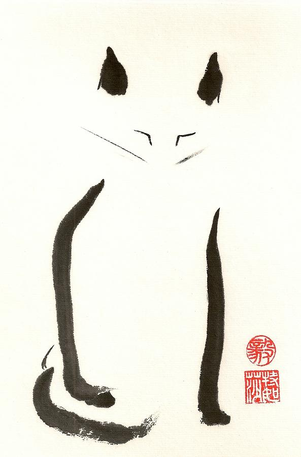 Japanese Painting - Zeneko by Terri Harris