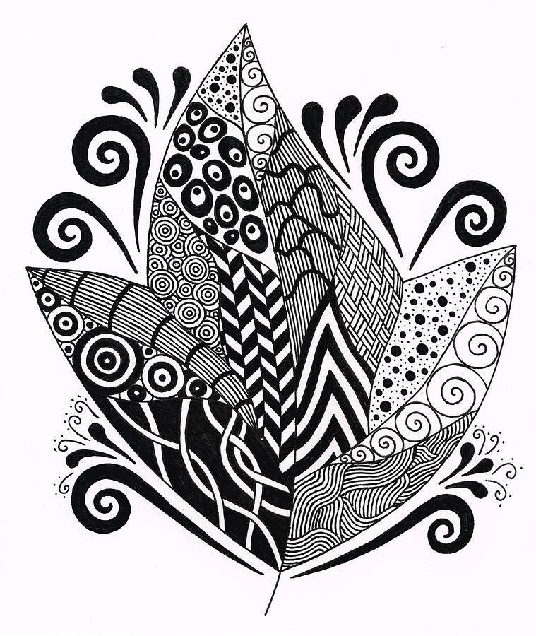 Zentangle Leaf 2 Drawing By Nancy Tellier