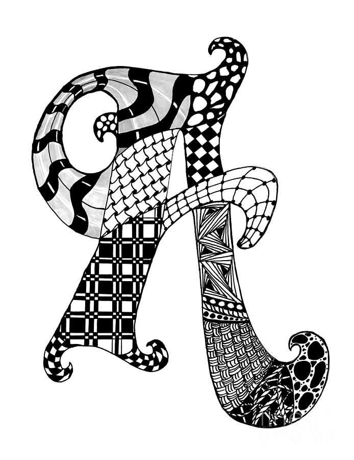 Letter A Monogram In Black And White Drawing By Nan Wright