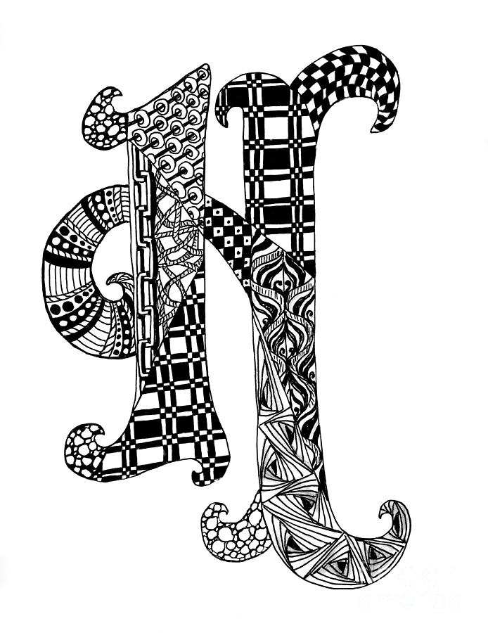 Letter H Monogram In Black And White Drawing By Nan Wright