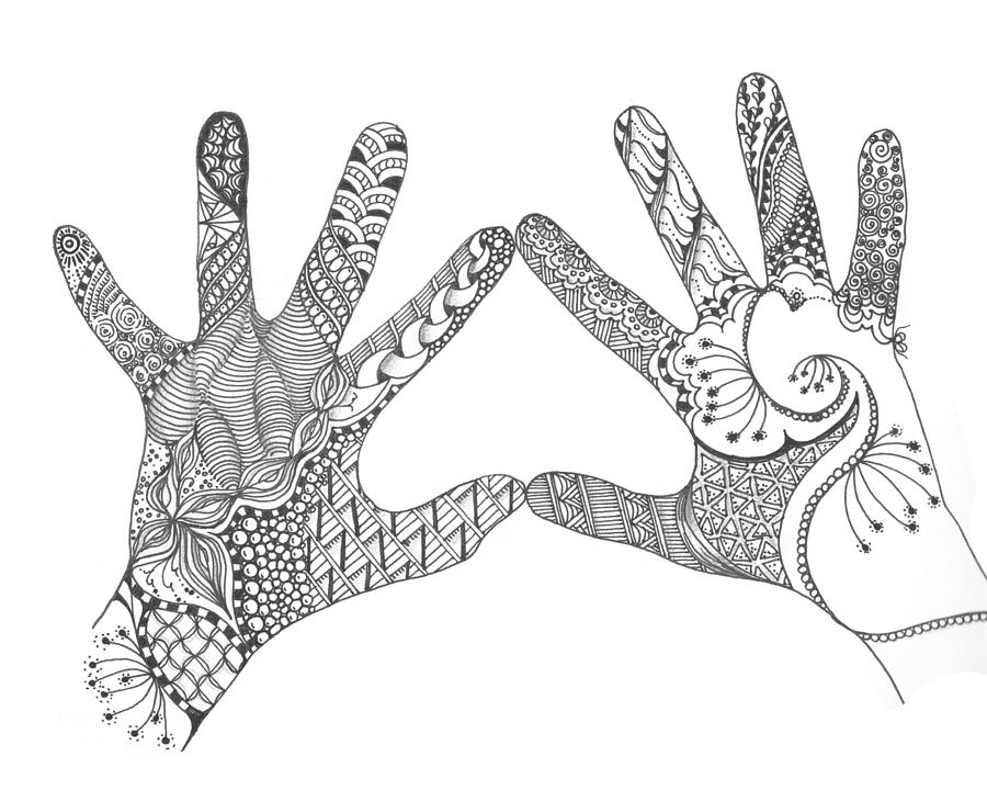 38bc71348b75e Zentangle Loving Hands by Barbara Carlson