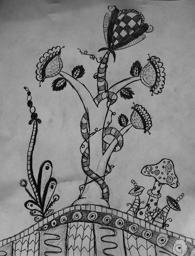 Zentangle Plants Drawing By Olivia Buddington