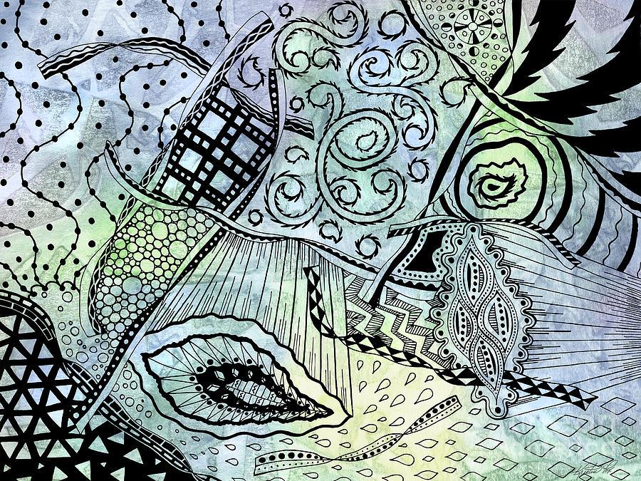 Illustration Drawing - Zentangle Ribbons by Kristen Fox