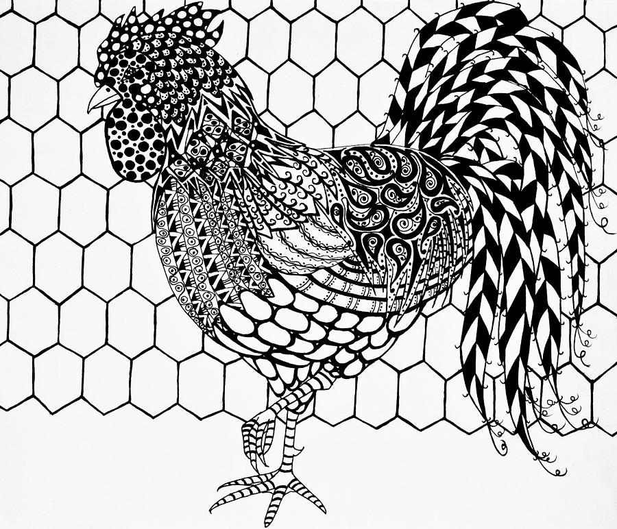 Zentangle Rooster Drawing by Jani Freimann