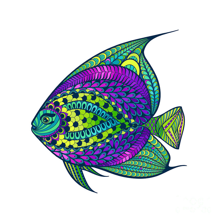 Engraving Digital Art - Zentangle Stylized Fish With Abstract by Avokishvok