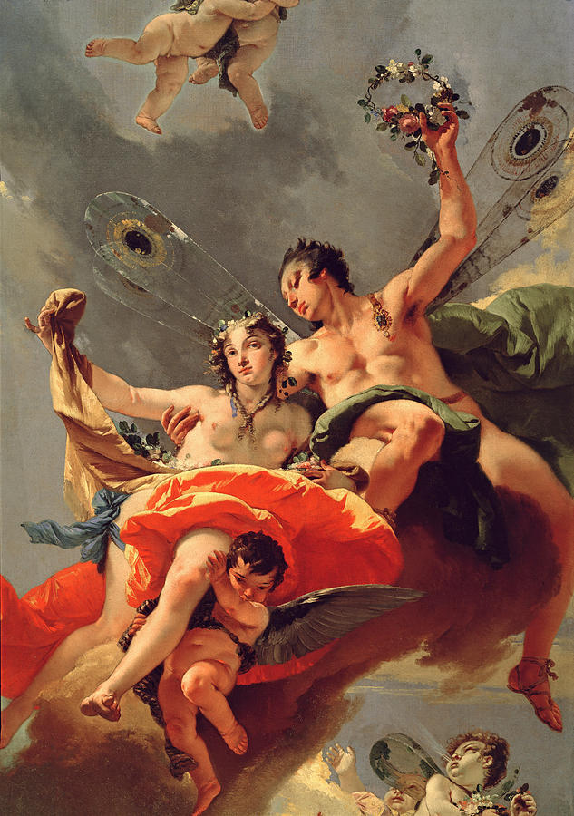 Wind Painting - Zephyr And Flora by Giovanni Battista Tiepolo