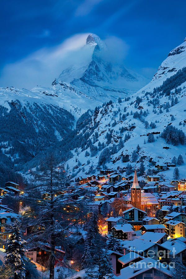 Zermatt Photograph - Zermatt - Winters Night by Brian Jannsen