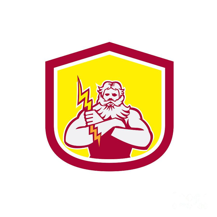 Zeus Digital Art - Zeus Greek God Arms Cross Thunderbollt Retro by Aloysius Patrimonio